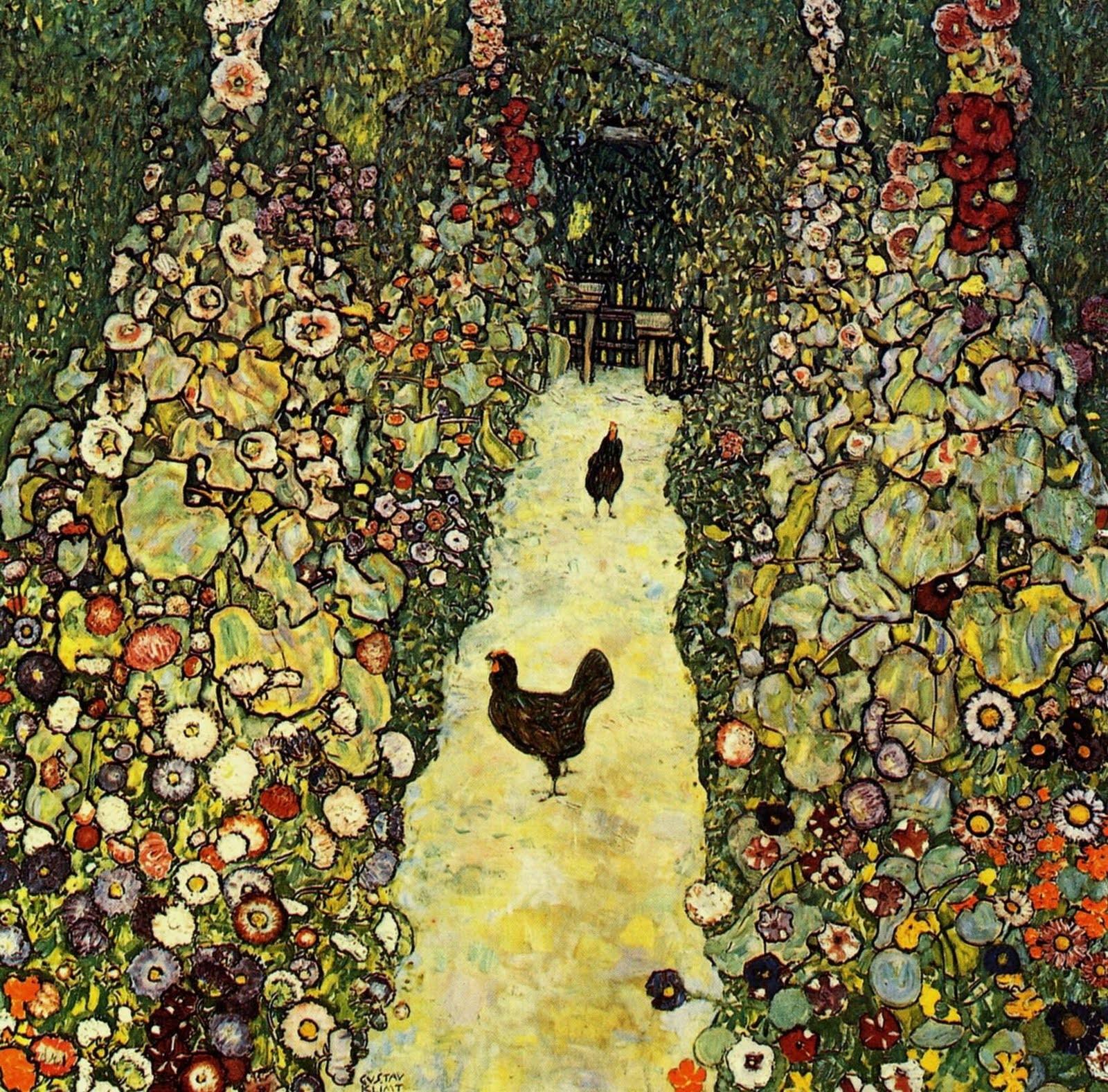Garden path with Chickens, Gustav Klimt